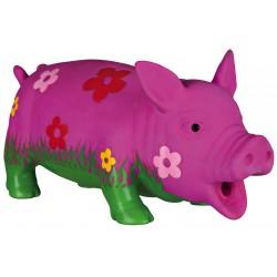 Jouet cochon fleuri en latex 20cm