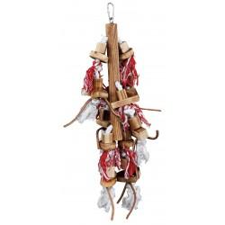 Jouet oiseau bois avec cuir 45cm