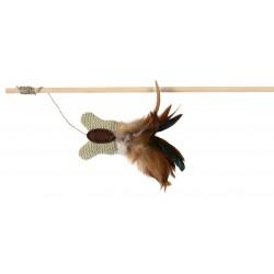 Jouet chat canne à pêche avec plumes