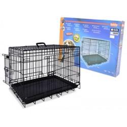 Cage de transport pliable noir chien 116X77X86cm
