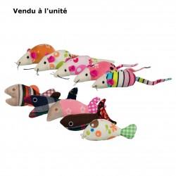 Peluche souris ou poisson 9-12 cm pour chat