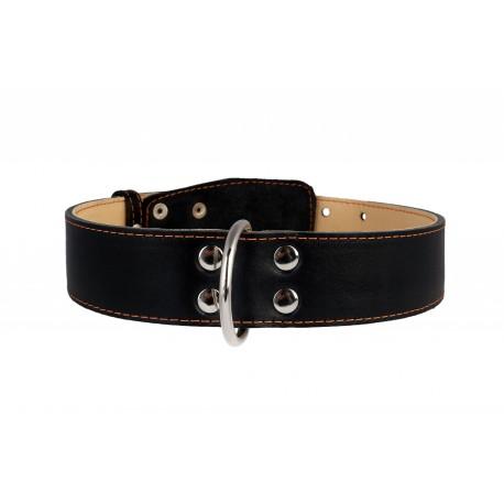 Collier cuir noir décor 45mm 56-68cm Collar