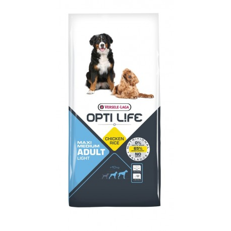 Opti life Light Medium & Maxi Versele Laga - croquettes pour chien en surpoids - sac de 12.5 Kg