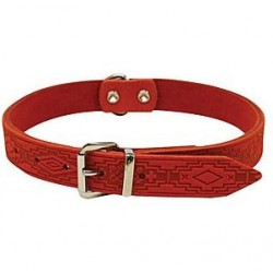 Collier nubuck rouge avec motifs 48cm