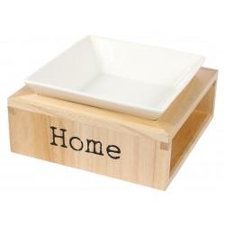 Support gamelle bois avec bol céramique